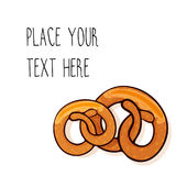 Vector template with  pretzels for fast food business. Vector template with two delicious pretzels for fast food business. Cartoon style with text Royalty Free Stock Images