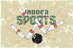 Vector template promotional postcards. Indoor Sports. Bowling Stock Photos