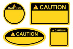 Template rectangle, square and oval yellow and black blank caution sign. Vector template rectangle, square and oval yellow and black blank caution sign vector illustration