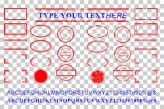 Blank template red and blue alphabet, number, percent, dollar, dot, star, rectangle, lines oval circle rubber stamp effect. Vector template red and blue alphabet Stock Illustration