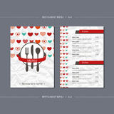 Vector template restaurant menu with colorful hearts Royalty Free Stock Photos