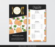 Vector template restaurant menu with gold cutlery and apricot with flowers Royalty Free Stock Images