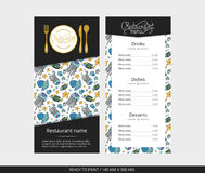 Vector template restaurant menu with gold cutlery and blue jellyfish Stock Photos
