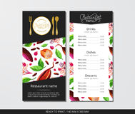 Vector template restaurant menu with gold cutlery and cacao with flowers. On grey field Royalty Free Stock Images