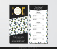 Vector template restaurant menu with gold cutlery and funky fish Royalty Free Stock Image