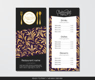 Vector template restaurant menu with gold cutlery and gold lilies Royalty Free Stock Image