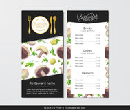 Vector template restaurant menu with gold cutlery and mushrooms with parsley. Vector template restaurant menu with gold cutlery and pattern mushrooms with Royalty Free Stock Image