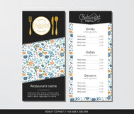 Vector template restaurant menu with gold cutlery and ocean Royalty Free Stock Photography