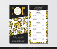 Vector template restaurant menu with gold cutlery and pattern autumn leaves. On grey field Stock Photos