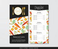 Vector template restaurant menu with gold cutlery and pattern carrot with slices. On grey field Stock Image