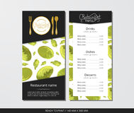 Vector template restaurant menu with gold cutlery and pattern Chinese cabbage. On grey field Stock Photography