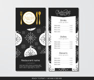 Vector template restaurant menu with gold cutlery and pattern Christmas ball and grey snowflake. On grey field Stock Photo