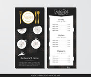 Vector template restaurant menu with gold cutlery and pattern Christmas ball and ornamental snowflake. On grey field Royalty Free Stock Photo