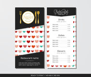 Vector template restaurant menu with gold cutlery and pattern colorful hearts. On grey field Stock Photos