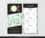 Vector template restaurant menu with gold cutlery and pattern green peony  leaves. On grey field Royalty Free Stock Photography