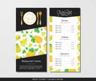 Vector template restaurant menu with gold cutlery and pattern orange melons and flowers. On grey field Stock Images