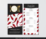 Vector template restaurant menu with gold cutlery and pattern pepper chili in origami style. On grey field Stock Photo