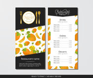 Vector template restaurant menu with gold cutlery and pattern persimmon with flower. On grey field Royalty Free Stock Photos