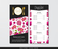 Vector template restaurant menu with gold cutlery and pattern pomegranate with flower Royalty Free Stock Images