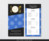 Vector template restaurant menu with gold cutlery and pattern snowflake and blue sky. On grey field Stock Photos