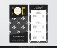 Vector template restaurant menu with gold cutlery and pattern white crown on a dark field. With grey background Stock Photography