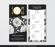 Vector template restaurant menu with gold cutlery and pattern with white peony and leaves Royalty Free Stock Image