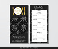 Vector template restaurant menu with gold cutlery and pattern white snowflake and dark field. On grey background Royalty Free Stock Image