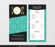 Vector template restaurant menu with gold cutlery and pattern white snowflake and mint background Stock Image