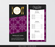 Vector template restaurant menu with gold cutlery and pattern white snowflake with violet field. On grey background Royalty Free Stock Photos