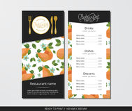 Vector template restaurant menu with gold cutlery and pears with flowers Stock Photography