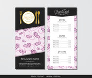 Vector template restaurant menu with gold cutlery and pink butterfly Stock Photo