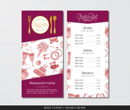 Vector template restaurant menu with gold cutlery and wedding icon set. On grey field Stock Image