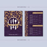 Vector template restaurant menu with gold lilies. And with paper texture on grey field Royalty Free Stock Photography