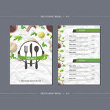 Vector template restaurant menu with mushrooms and parsley. And with paper texture Royalty Free Stock Images