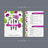 Vector template restaurant menu with passionfruit and flower Royalty Free Stock Images