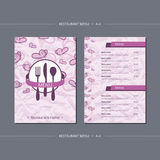 Vector template restaurant menu with pink butterfly vector illustration