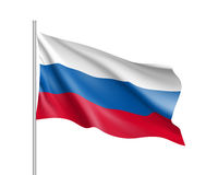 Vector template of Russia flag. Vector template of Russia flag on metallic pole. Waving flag of Russian Federation on flagstaff - country symbol. Isolated Stock Image