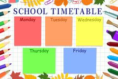 Template school timetable for students or pupils. Vector Illustration. royalty free illustration