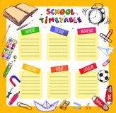 Vector Template School timetable for students and pupils. Illustration includes many hand drawn elements of school supplies. Schoo Stock Images