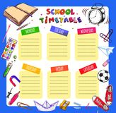 Vector Template School timetable for students and pupils. Illustration includes many hand drawn elements of school supplies. Schoo. L notebook sheet style vector illustration