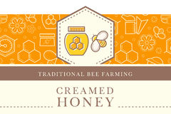 Vector template with seamless pattern - natural honey collection Stock Images