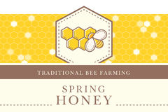 Vector template with seamless pattern - natural honey collection Stock Photos