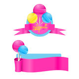 Vector template set with sweet lollipops. Sweet shop lollipop la Stock Image