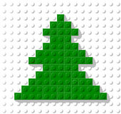 Vector template in shape tree from plastic construction block. Greeting card for Christmas and New Year Royalty Free Stock Photo