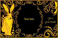 Vector template with sign chinese horoscope - rabbit Stock Photography
