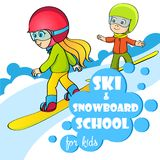 Vector template for ski and snowboard school. Kids on snowboard vector illustration. Logo for your design Stock Images