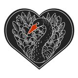 Black swan. Vector hand drawn illustration. Vector template for sticker, t-shirt print and other designs. Black heart with swan inside Royalty Free Stock Photography