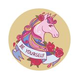 Cute unicorn. Vector hand drawn llustration. Vector template for sticker, t-shirt print. Pink unicorn`s head, flowers, ribbon with motivating slogan Royalty Free Stock Image