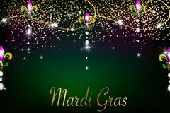 Mardi Gras holiday background with diamonds, lights royalty free illustration