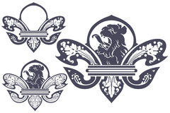 Vector template tattoo heraldic lily with a lion's head in the c Royalty Free Stock Images